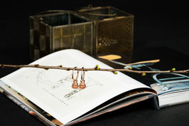 infinite LOVE Roségold Kreolen mit Mondsteinanhänger, versilbert, 925er Echtsilber, INF0008
