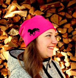 """Beanie pink """"schwarzes Islandpferd"""""""
