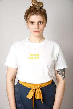 Bio-Baumwoll Shirt mit Siebdruck weiß