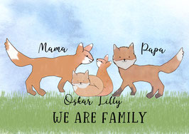 """INDIVIDUALISIERBARES Poster """"WE ARE FAMILY - FÜCHSE"""", 20x30cm"""