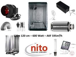 Growbox Komplettset 600 W NDL Eco 120x120x200 cm AKF 580m³/h(600 Watt mit AKF)
