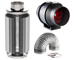 Lüftung: 60 Watt und 320 m³/h + Aktivkohlefilter (standardt): 10x30 cm (dickes Kohlebett) und 340m³/h