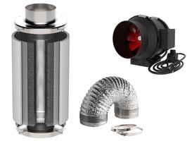 Lüftung (regelbar): 60 Watt und 320 m³/h + Aktivkohlefilter (premium): 100x300 mm ( extra dickes Kohlebett) und 360m³/h