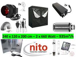 Growbox Komplettset Pro elektronisches VSG dimmbar NDL 240x120x200 cm AKF 935m³/h (2 x 660 Watt Adjustable Wing)