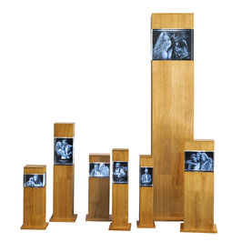 3 D Leuchtstele Holz/Rubberwood
