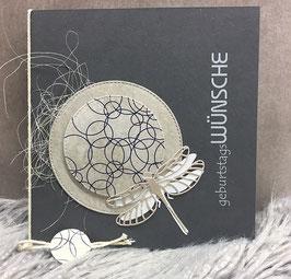 Geburtstagskarte Libelle grau