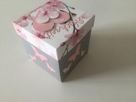 Kirschblüte Explosionsbox hellgrau mit rosa Herzen