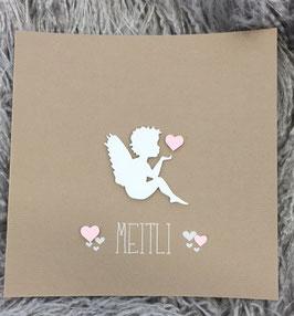 Babykarte Engel mit Herz (Deutsch und Rätoromanisch)
