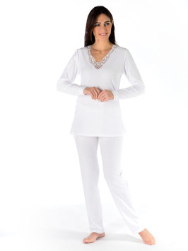 Schlafanzug Jersey-Tupfenmull Plumetis-Gewebe 50% Polyester, 50% Baumwolle