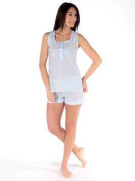 Schlafanzug Tupfenmull Plumetis-Gewebe 100% schweizer Baumwolle