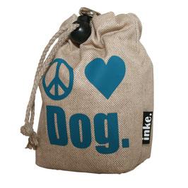 Peace.Love.Dog. (Zeichen) Sand mit Türkis