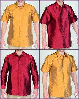 Hemden aus 100% Thai Seide uni Langarm und Kurzarm