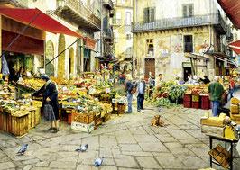schilderij van een markt te Palermo (puzzel 3000 stuks)