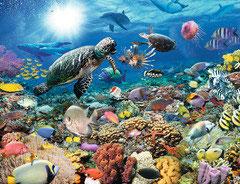 Fantasy montage fauna en flora onder water  (puzzel 2000 stuks)
