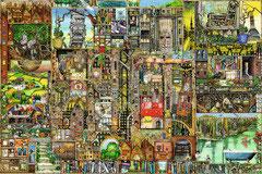 Vreemde stad collage Colin Thompson  (puzzel 5000 stuks)