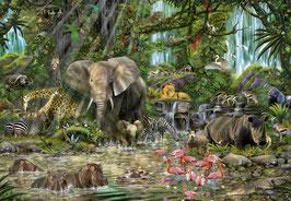 Afrikaans oerwoud fotomontage  (puzzel 2000 stuks)