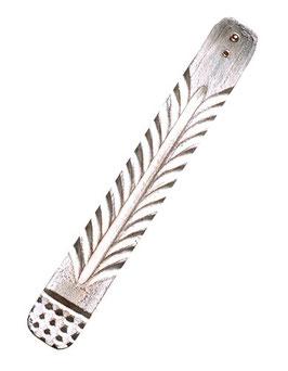 Räucherstäbchen- Holzhalter Ornament weiß, gewachst