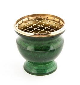 Netzräuchergefäß aus Messing, Emaille grün