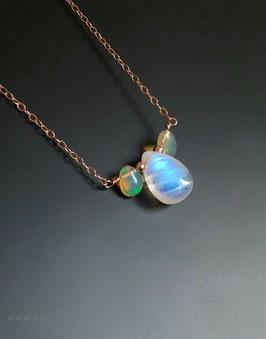 Halskette mit Regenbogen Mondstein und Opal, in 925 Sterling Silber, Goldfill und Roségold Filled