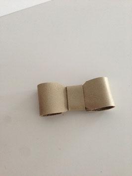 Broche noeud en cuir doré uni