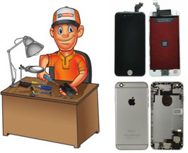 Remise à neuf - Service réparation écran complet noir + coque arrière complète iPhone 6 Plus