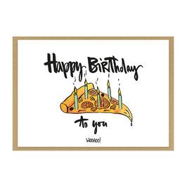 Grußkarte Happy Birthday Pizza