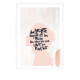 """Kunstdruck  """"Der größte Gegner ist das Bild, das man selbst von sich im Kopf hat"""""""