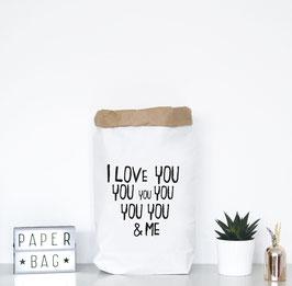 "Paperbag mir Schriftzug ""I love you and me"""