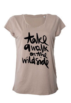 "T-Shirt ""take a walk on the wild side"" in nude"