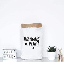 """Paperbag mir Schriftzug """"wanna play"""""""