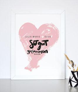 So gut zusammen - individueller Kunstdruck für Verliebte