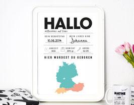 Hallo Welt - individueller Kunstdruck für das Neugeborene