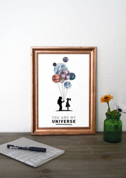 "Kunstdruck ""you are my universe"""
