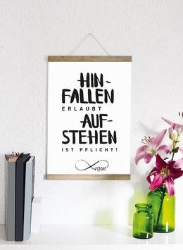 """Kunstdruck """"Hinfallen erlaubt, aufstehen ist Pflicht!"""""""