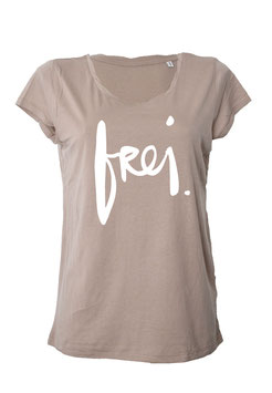 "T-Shirt ""frei"" in nude"