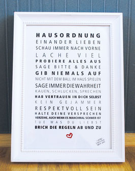 Kunstdruck Hausordnung