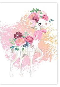 A4 poster Alpaca met bloemstuk
