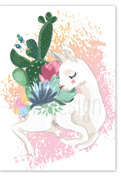 A4 poster Alpaca met cactus
