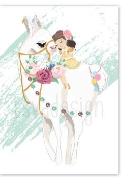 A4 poster Alpaca met meisje