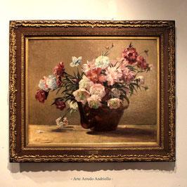 Louis Marie Adrien Jourdeuil ( 1849 -1897 ) antico dipinto natura morta con fiori