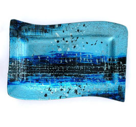 Glasschale im Glitterlook ''blau''