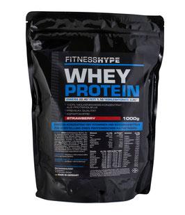 Fitnesshype Whey Protein Strawberry - 1000g Beutel - Inklusiv Gratis Shaker