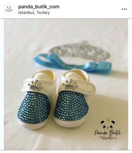 Babyschuh Türkis mit Krone