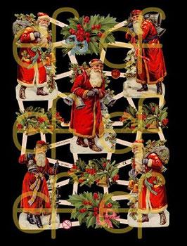 Glanzbilder-Bogen Weihnachtsmänner