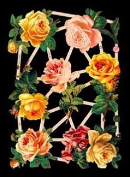 Glanzbilder-Bogen Rosen gelb/orange