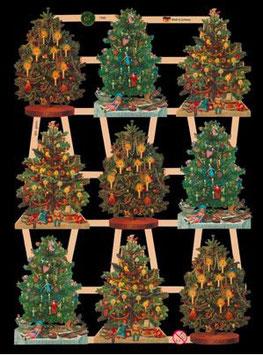 Glanzbilder-Bogen Weihnachtsbäume