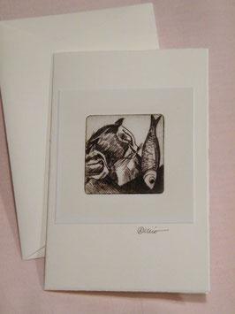 Künstlerkarte 'Katze und Fisch'