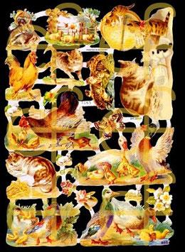 Glanzbilder-Bogen Tiere vom Bauernhof