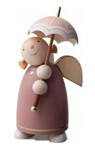 Schutzengel 8 cm mit Schirm, rosenholz