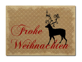 """Postkarte aus Holz Hirsch """"Frohe Weihnachten"""""""